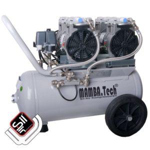 mobiler Kompressor mit einem MDR2 Druckschalter, Druckregler mit Filtereinheit, 2 Motoren die jeweils mit einem Ansaugfilter ausgerüstet sind und einem horizontalen Tank in grau.