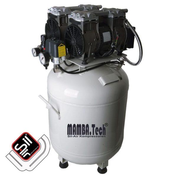 leiselaufkompressor mit einem MDR2 Druckschalter, Druckregler mit Filtereinheit aus Metall, 2 Motoren auf einem vertikalen Drucklufttank in grau.