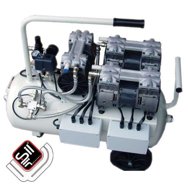 mobiler Kompressor mit einem MDR2 Druckschalter, Druckregler mit Filtereinheit, 3 Motoren die jeweils mit einem Ansaugfilter ausgerüstet sind und einem horizontalen Tank in grau und einem Handgriff.