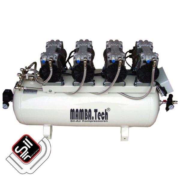 SilAir Mamba CMC Leiselaufkompressor mit vier Motoren und einem 100 Liter Drucklufttank