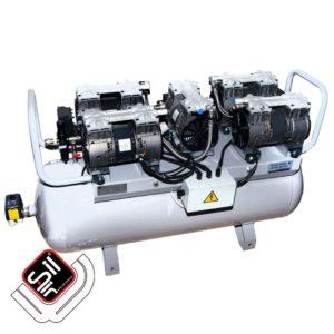 leiselaufkompressor mit einem MDR2 Druckschalter, Druckregler mit Filtereinheit aus Metall, 5 Motoren die jeweils mit einem Ansaugfilter ausgerüstet sind, auf einem horizontalen Drucklufttank.
