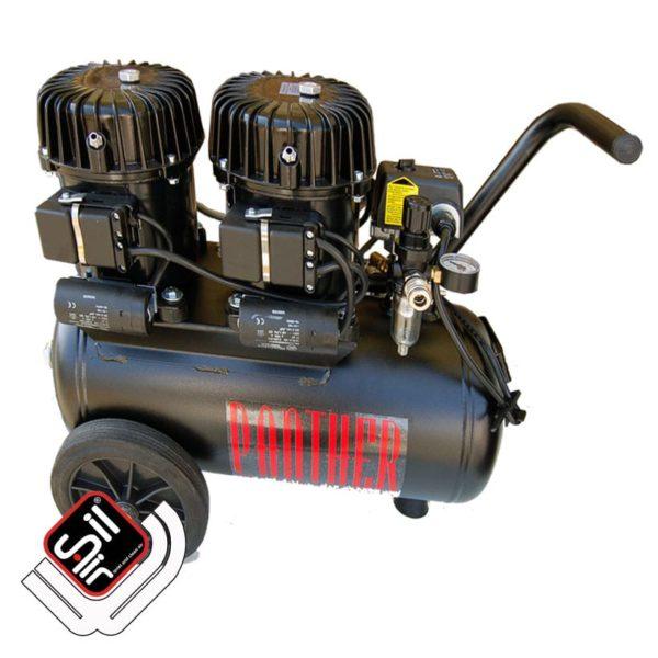 mobiler Kompressor mit einem MDR2 Druckschalter, Druckregler mit Filtereinheit aus Metall, 1 Motor auf einem horizontalen Tank in schwarz.