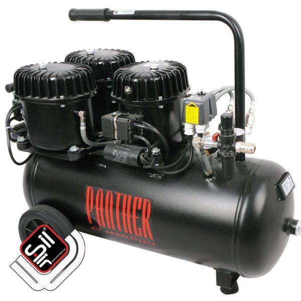 mobiler Kompressor mit einem MDR2 Druckschalter, Druckregler mit Filtereinheit aus Metall, 3 Motoren auf einem horizontalen Tank in schwarz.