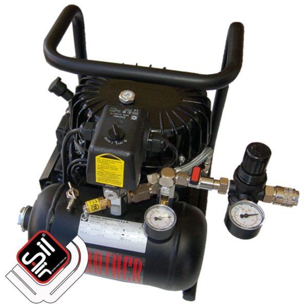 tragbarer Kompressor mit einem MDR2 Druckschalter, einem Druckregler mit Filtereinheit, 1 Motor und einem liegenden Drucklufttank in schwarz