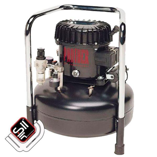 tragbarer Kompressor mit einem Druckregler mit Filtereinheit, 1 Motor auf einem stehenden Drucklufttank in schwarz