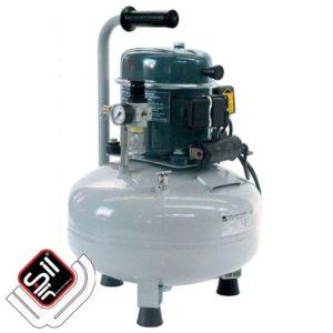 Tragbarer Leiselauf Kompressor mit einem MDR2 Druckschalter, 1 Motor auf einem stehendem Drucklufttank in grau.