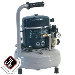 tragbarer Kompressor mit einem MDR 2 Druckschalter, 1 Motor auf einem stehenden Drucklufttank in grau.
