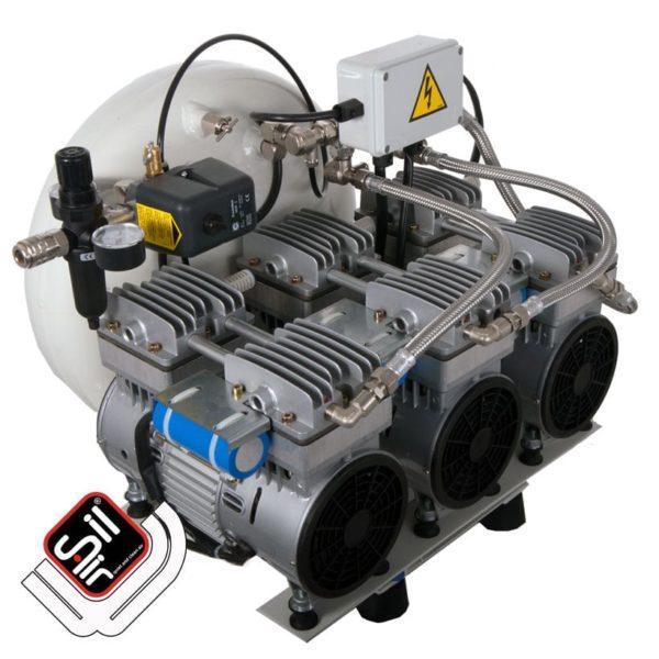 SilAir-CMD-Kompressor-ölfrei mit seitlich angebrachtem Drucklufttank