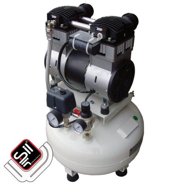 SilAir-CMD-PLUS-Kompressor-Motor auf einem Drucklufttank mit Druckschalter und Druckregler