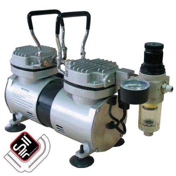 SilAir-Kompressor mit Druckregler und Halterbügel