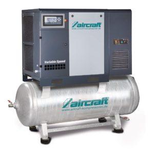 Direktgekuppelter Schraubenkompressor mit angebautem Kältetrockner auf Behälter