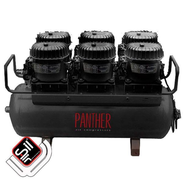 SilAir Panther-Flüsterkompressor stationär mit sechs Motoren und einem Drucklufttank
