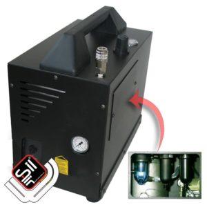 SilAir Panther-IM100VS-Druckluftkompressor im Koffergehäuse mit Filterbatterie, sichtbarem Manometer und Tragegriff