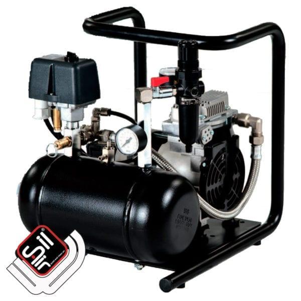 SilAir Panther Kompressor im Grundrahmen mit Druckluftbehälter und Manometer sowie Druckschalter schwarz