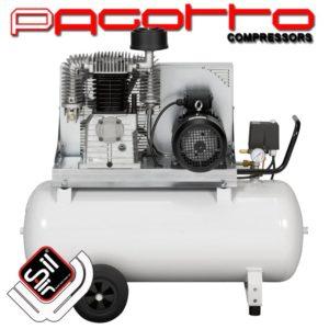 SilAir Pagotto-Kolbenkompressor mit horizontalem Drucklufttank mit Handgriff und Rollen