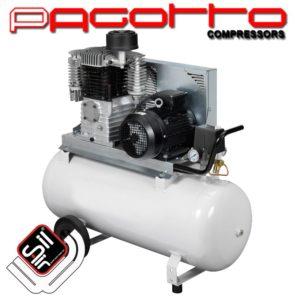 SilAir Pagotto Kolbenkompressor mit einem Motor und Handgriff sowie Rädern am Drucklufttank