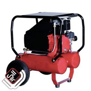 SilAir Pagotto-Kolbenkompressor mit doppeltem Drucklufttank und Motor, mit Rahmen und Rollen