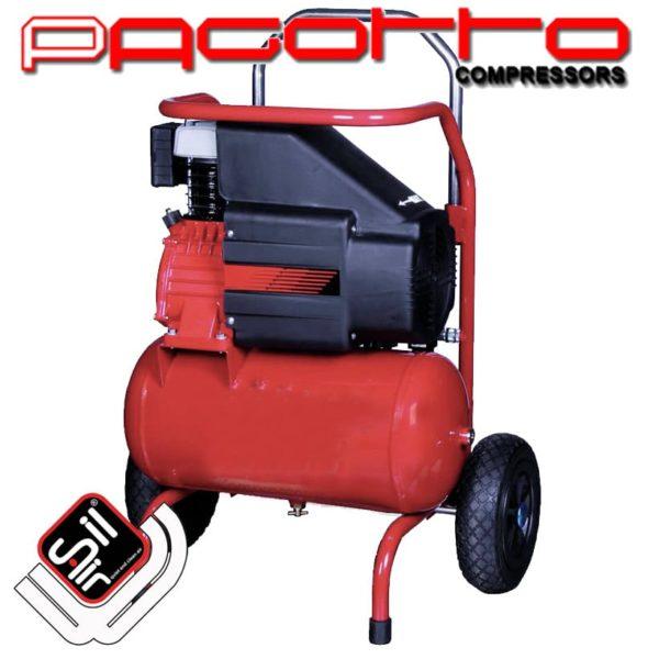 SilAir Pagotto-Kolbenkompressor, roter Drucklufttank mit fahrbarem Grundrahmen und darauf verbautem Motor
