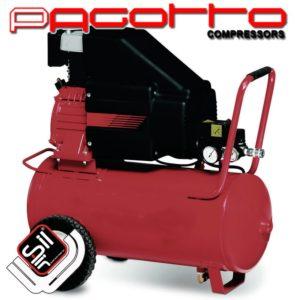 SilAir Pagotto-Kolbenkompressor-ein roter fahrbarer Drucklufttank mit darauf verbautem Motor