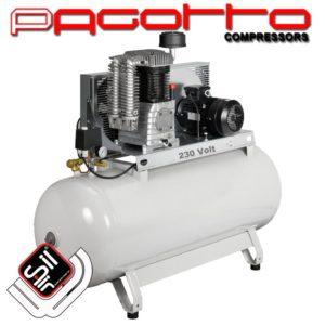 SilAir Pagotto-Kolbenkompressor mit stationärem horizontalem Drucklufttank und weinem Motor