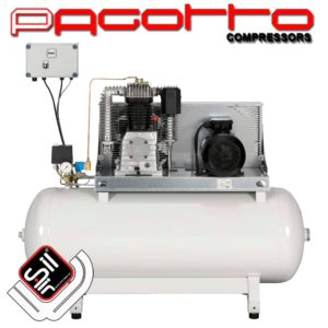 SilAir Pagotto Kolbenkompressor mit horizontalem Tank, einem Motor sowie Wandschalter