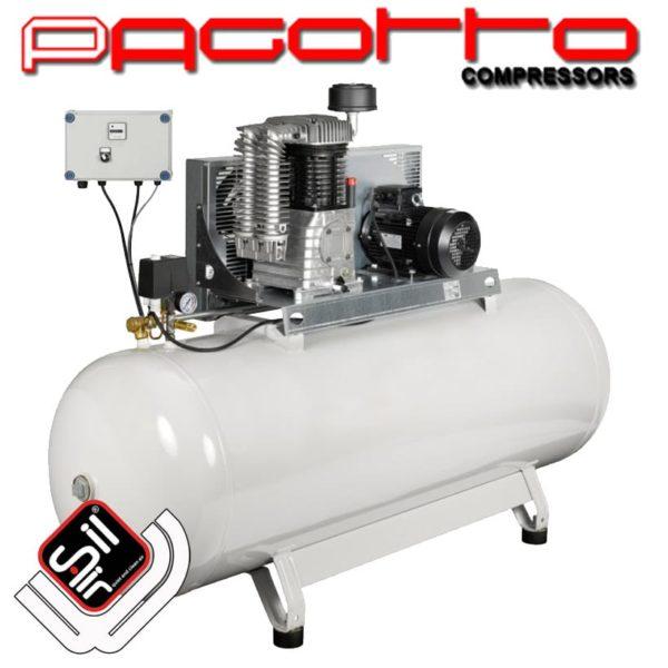 SilAir Pagotto-Kolbenkompressor mit horizontalem Drucklufttank, einem Motor und Wandschalter