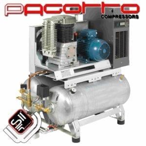 SilAir Pagotto Kolbenkompressor mit doppeltem Drucklufttank und Kältetrockner seitlich befestigt