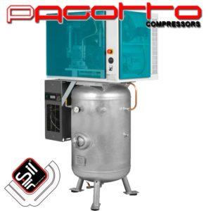 SilAir PAGOTTO Kompressor mit Schallschutzbox und Kältetrockner, sowie stehendem Drucklufttank mit Handloch