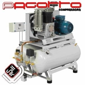 SilAir Pagotto Kolbenkompressor mit doppeltem Drucklufttank und Wandschalter