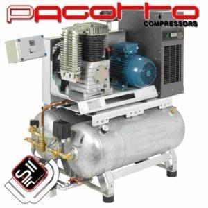 SilAir Pagotto Kolbenkompressor mit doppeltem Drucklufttank und Kältetrockner sowie Wanschalter