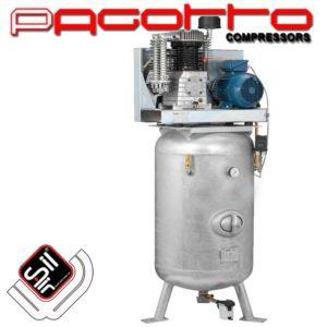 SilAir PAGOTTO-Kolbenkompressor stehend mit einem Motor sowie Drucklufttank mit Handloch