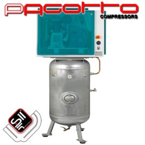 SilAir PAGOTTO Kolbenkompressor-Schallschutz-stehender Drucklufttank mit Handloch