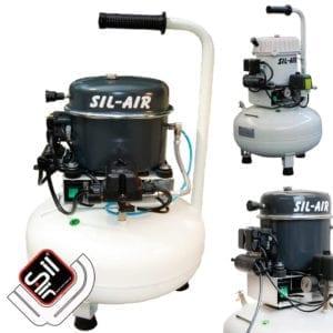 SA-Druckluftkompressor-mit einem Motor auf weissem Drucklufttank und Ventilator