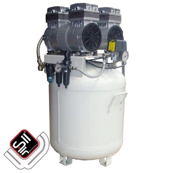 SilAir-CMD-Kompressor mit zwei Motoren und Druckschalter sowie Druckregler und Drucklufttank