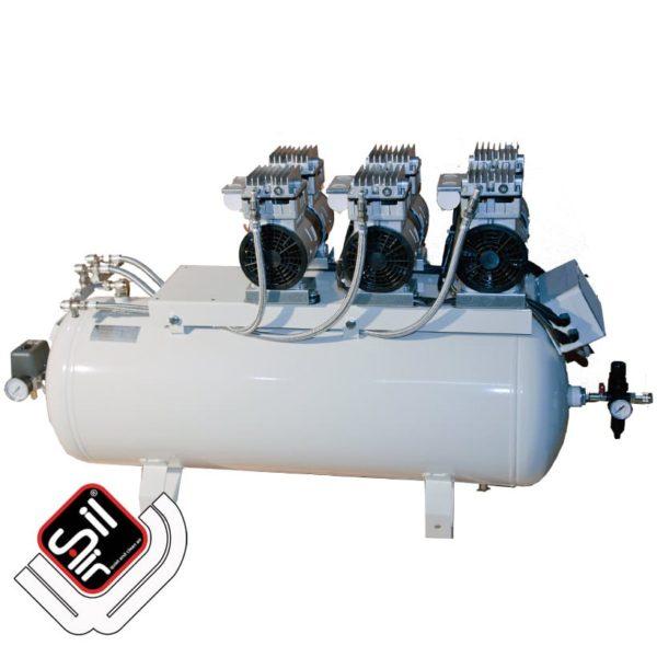 Sil-Air-CMD-Kolbenkompressor-mit stationärem Drucklufttank, drei Motoren ,Druckregler und Druckschalter