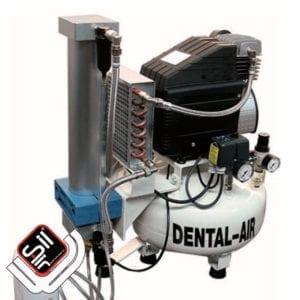 SilAir-Dental Kompressor mit einem Druckluftmotor, einem Wärmetausche, sowie einem Absorbtionstrockner und Druckregler