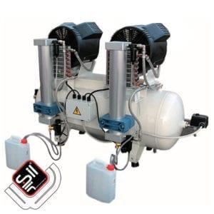 SilAir-Dental Range Kompressor mit zwei Absorbtionstrocknern , zwei Motoren sowie einem Drucklufttank