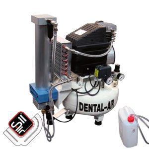 SilAir-Dental Kompressor mit einem Motor, Absorbtionstrockner und Wärmetauscher, sowie Druckschalter und Druckregler