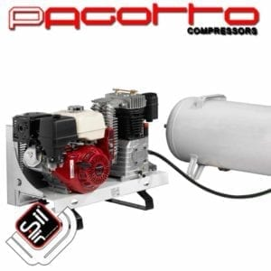 Kolbenkompressor mit Benzinmotor für Einsätze ohne Stromanschluss mit externen Drucklufttank
