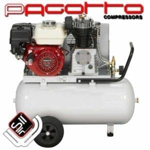 Kolbenkompressoren mit Benzinmotor für Einsätze ohne Stromanschluss mit montierten Rädern unter dem Drucklufttank
