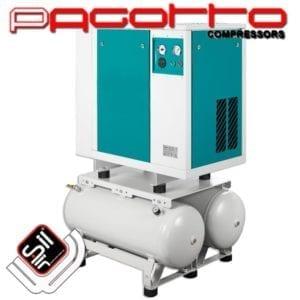 SilAir PAGOTTO Kompressor mit zwei Drucklufttanks im Gehäuse verbaut mit Außenamaturen