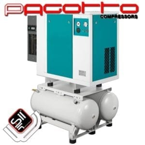SilAir PAGOTTO Kompressor mit Kältetrockner und Kastengehäuse mit Amaturen, darunter zwei Drucklufttanks