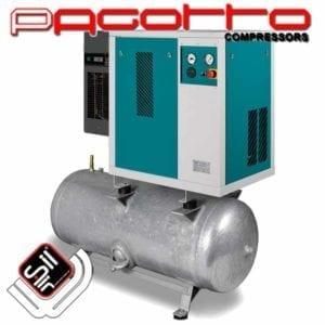 SilAir PAGOTTO Kompressor im Kastengehäuse mit Amaturen mit Kältetrockner und Drucklufttank