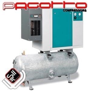 SilAir PAGOTTO Scroll Kompressor mit Kältetrockner und Drucklufttank in Schallschutzbox verbaut mit Amaturen