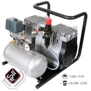 SilAir Kompressor tragbar, im Grundrahmen verbaut mit Druckregler, Drucklufttank und Condor MDR2 Druckschalter