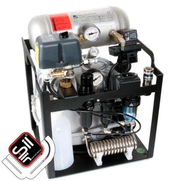 Flüsterkompressor verbaut im Grundrahmen mit Automatischem Entwässerungssystem, Filterbatterie, Drucklufttank und Condor MDR2 Druckschalter
