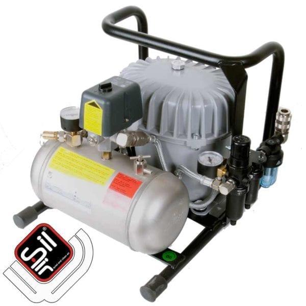 Kompressor im Grundrahmen mit Drucklufttank, Filterbatterie und Condor MDR2 Druckschalter