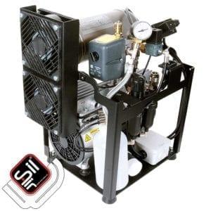 SilAir Kompressor mit Grundrahmen, Filterbatterie, Druckschalter, Drucklufttank und 2 Ventilatoren