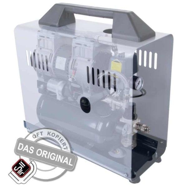 Ölfreier Leiselauf Kompressor tragbar als Koffergerät mit einem Drucklufttank und Druckluftmanometer in grau