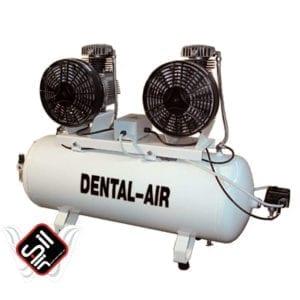 SilAir-Dental Range-Tandem 2- Kompressor mit zwei Motoren auf einem Drucklufttank